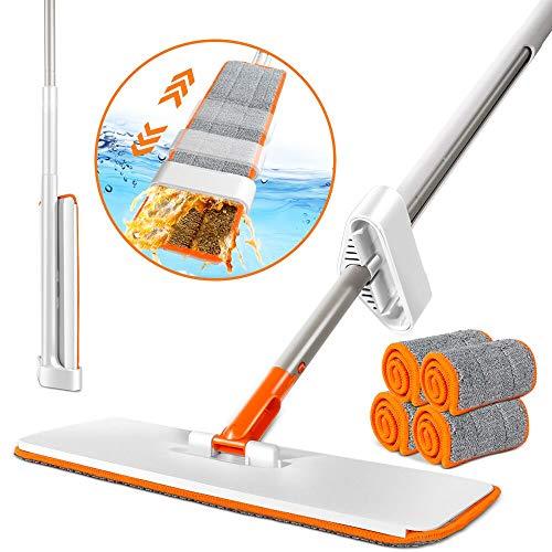 MASTERTOP Wischmop mit 4 Mikrofaser Moppköpfe,Handfrei Bodenwischer, Flach Mopp für Boden,Fenster