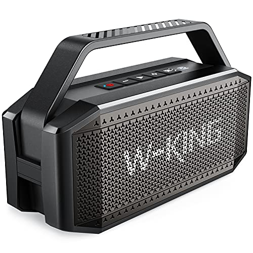 Bluetooth Speaker, W-KING 60W Punchy Bass, Loudest Portable Wireless Speaker, IPX6 Waterproof, Bluetooth 5.0, 40H Playtime, 12000mAh Power Bank, NFC, Mic, AUX, for Home, Outdoor, Party, Camping