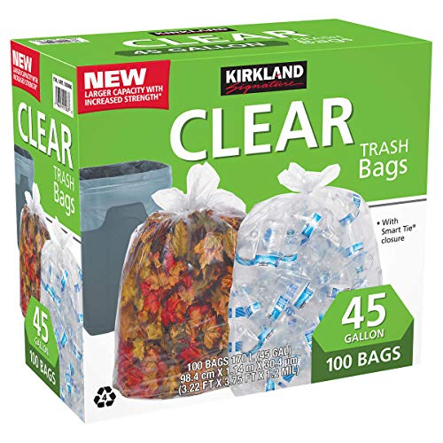 Kirkland Signature 45-Gallon Trash Bag, Clear, 100-count