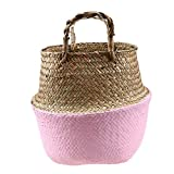 Zamtac Handmade Straw Storage Basket Seagrass Wicker Planter Hanging Flower Pot Woven Folding Flowerpot Home Storage Organization - (Color: Pink, Sheet Size: L)