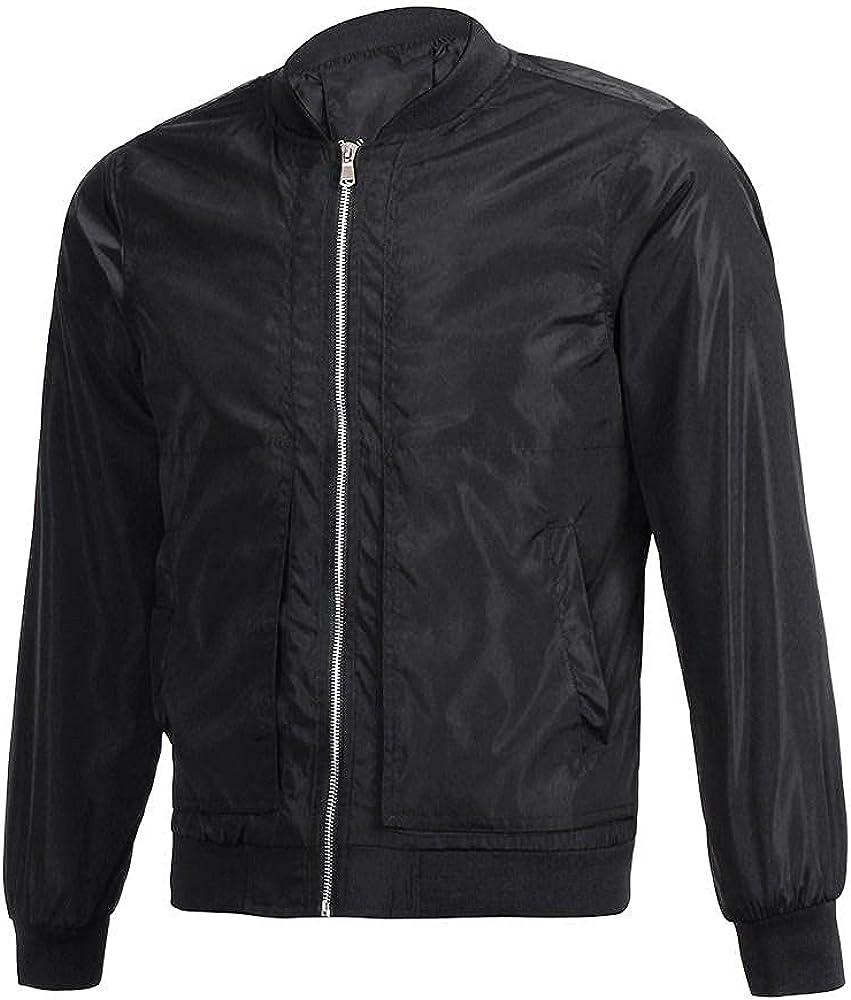 Men Jacket Overcoat Slim Fit Lightweigh Long Sleeve Winter Warm Outwear Flight Bomber Coats Zipper Tops Blouse