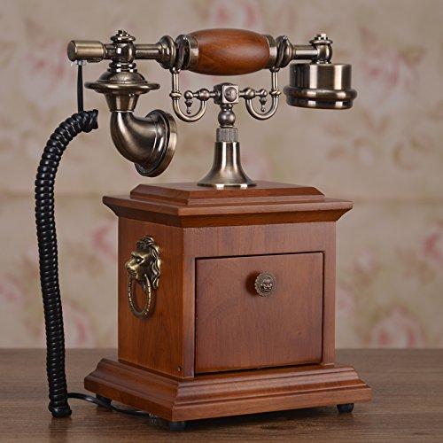 Motesuvar Teléfono antiguo de madera maciza, teléfono de moda para el hogar, teléfono vintage americano, edición general: (Pi Sheng) color caoba