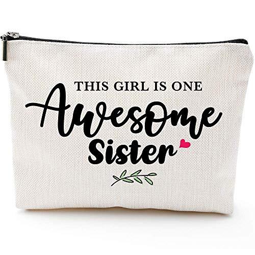Regalos para hermanas para mujeres, regalos de cumpleaños para Sister-This Lady is One Awesome Sister-Waterproof Makeup Bag
