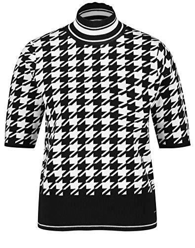 Taifun Damen Halbarm-Pullover mit Hahnentrittmuster figurumspielend Black Gemustert 42
