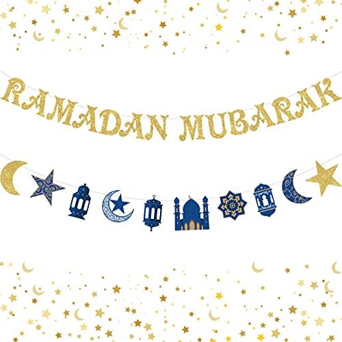 Ramadan Mubarak Banner Decoraciones Azul y dorado Ramadan Kareem Decoraciones para el hogar Eid Mubarak Guirnalda con luces de luna y estrellas para Islam musulmán Suministros de Ramadán