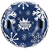 SKL Snow Tube, 47 Inch Inflatable Snow Sled for Kids and Adults, Heavy Duty Snow Tube with Safety Handles, Pulling Rope Safe Seat Snow Sled Winter Outdoor Toys