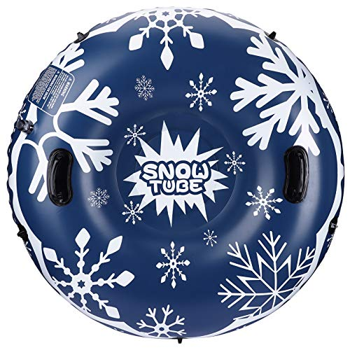 SKL Snow Tube, 47 Inch Inflatable Snow Sled for Kids and Adults, Heavy Duty Snow Tube with Safety...