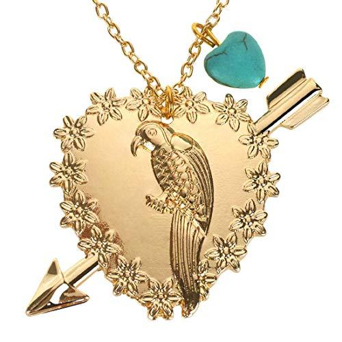 Kim Johanson Damen Halskette *Papagei* in Gold mit Einem türkisen Naturstein Herz inkl. Schmuckbeutel