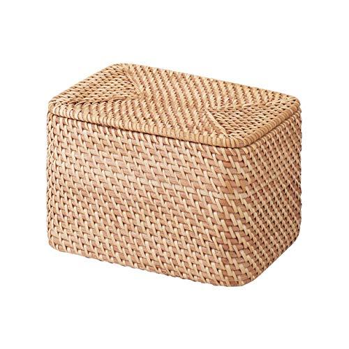 無印良品 重なるラタン長方形ボックス・フタ付 (V)約幅26×奥行18×高さ16cm 47381337