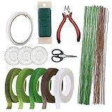 Kit de herramientas de arreglo floral,Kit de Arreglos Florales, cintas y envolturas de alambre floral,Cortador de Alambre y Tijeras para Hermoso Arreglo de Ramo