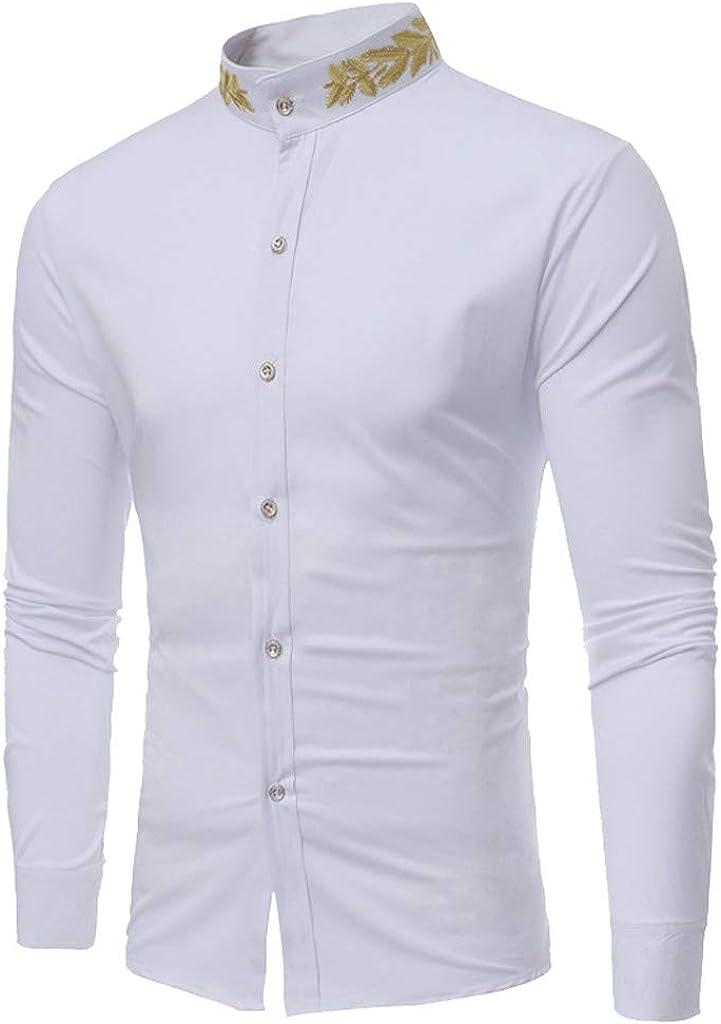 MODOQO Men's Long Sleeve Shirt Casual Fashion Embroidery Stand Collar Shirt Top