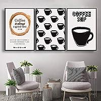 キャンバス絵画現代漫画コーヒーショップクリエイティブな家の装飾リビングルームのポスターのための北欧のシンプルなスペースウォールアート-30x40cmx3フレームなし