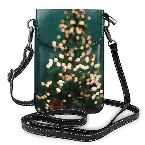 Lsjuee Weihnachtsbaum Lichterketten Umhängetasche Geldbörse Kleine Mini Umhängetasche Handytasche Leder Geldbörse Für Frauen Mädchen