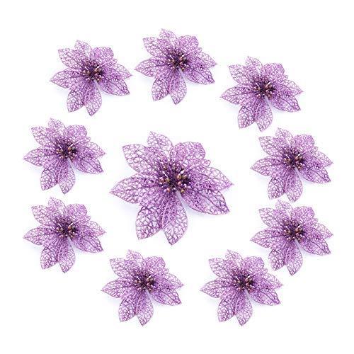 10/20 Pezzi Glitter Argento Fiori di Natale Tessuto Artificiale Cavo Fiori di Simulazione...