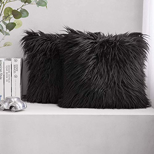 nuoshen 2 Pcs Plush Black Cushion Covers, 45 x 45cm(18 x 18 inch) Faux Fur Decorative Super Soft Pillow Case for Sofa Bed Chair Couch Living Room