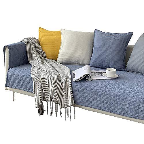 Cojín para sofá de Color sólido,1/2/3/4 plazas,Antideslizante,Antideslizante,Resistente a Las Manchas,de Varios tamaños,para sofá,Protector,seccional,para Mascotas,Perro,Azul Claro,110 * 210 cm