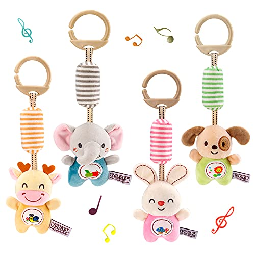 Baby Hanging Rattles Toys for 3 6 9 to 12 Months, Early Development Newborn Crib Toys Car Seat Stroller Toys for Infant, Baby Animal Wind Chime Rattles Toys for Boys and Girls Birthday Gifts(4 Pack)