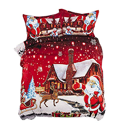 Onlyway - Set copripiumino per letto matrimoniale e king size, motivo Babbo Natale