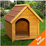 Wooden Dog Kennel - Sturdy & Attractive Outdoor Dog Kennel Made From Light, Finished Wood With a Wide Overhang Offering Protection From Adverse Weather Conditions (Medium)