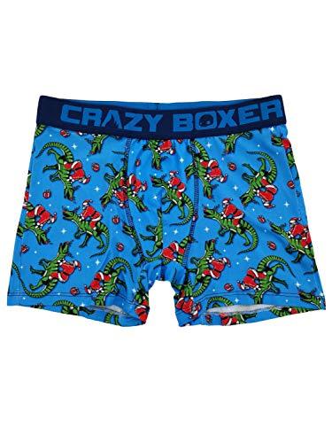 Mens Dinosaur Riding Santa Ugly Christmas Novelty Underwear Boxer Briefs XL Blue