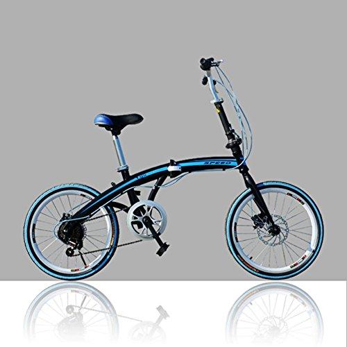YEARLY Adulti bici pieghevole, Bici pieghevoli studente U8 Uomini e donne Bicicletta pieghevole-Blu 20inch