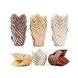 Tazas de papel para hornear magdalenas, tulipán, 100 unidades, diseño de tulipán, para hornear magdalenas, a prueba de grasa para bodas, fiestas de cumpleaños