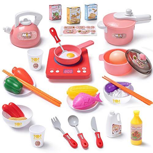 Czemo Juguetes de Cocina Set Utensilios de Cocina Culinario Mini Cocina de Juguete Incluye Múltiples Accesorios para Niños