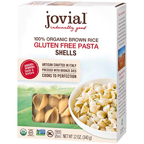 Jovial Shells Gluten-Free Pasta | Whole Grain Brown Rice Shells Pasta | Non-GMO | Lower Carb | Kosher | USDA Certified Organic | Made in Italy | 12 oz