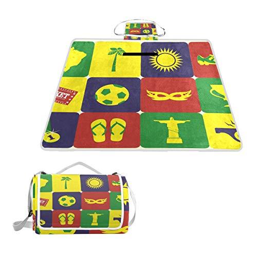 DragonSwordlinsu Coosun Strand-/Fußball-Picknickdecke, handliche Matte, schimmelresistent und wasserdicht, Camping-Matte für Picknicks, Strand, Wandern, Reisen, Reisen und Ausflüge