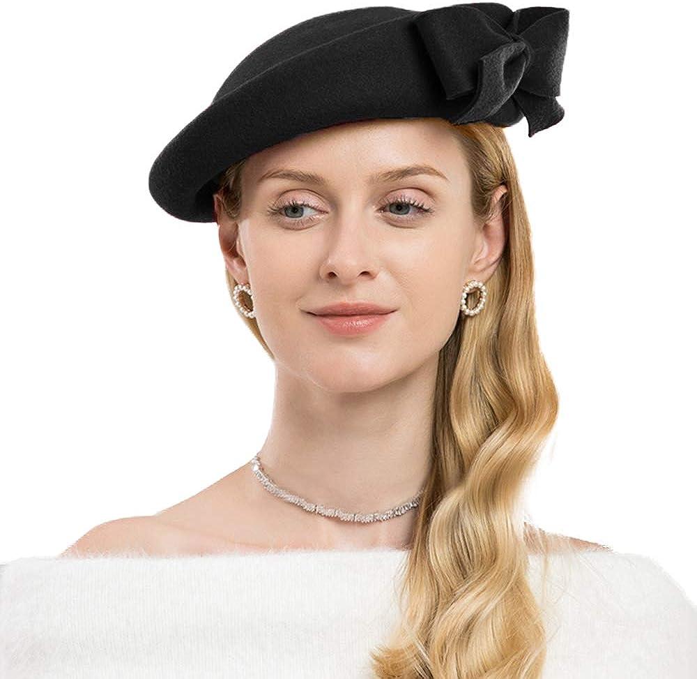 F FADVES Derby Fascinators Hat Winter Wool Felt Pillbox Wedding Church Hats Bow