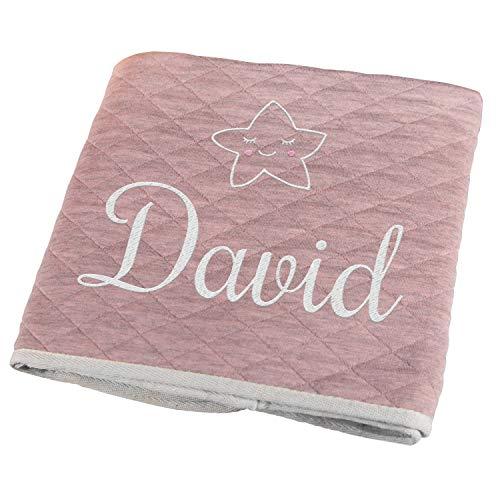 Personello® Personalisierte Babydecke mit Namen bestickt (Stern), rosa, Premium, Bio Baumwolle, werdende Mama Geschenk