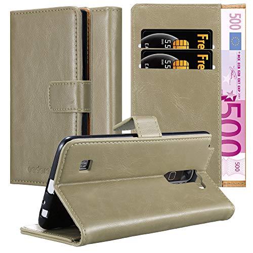 Cadorabo Hülle für LG Stylus 2 in Cappuccino BRAUN – Handyhülle mit Magnetverschluss, Standfunktion & Kartenfach – Hülle Cover Schutzhülle Etui Tasche Book Klapp Style