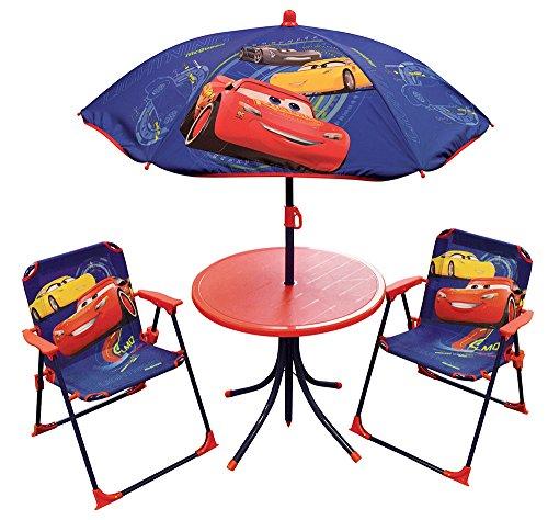 Fun House Disney Cars - Set di mobili da giardino per bambini, composto da 1 tavolo, 2 sedie pieghevoli e 1 ombrellone