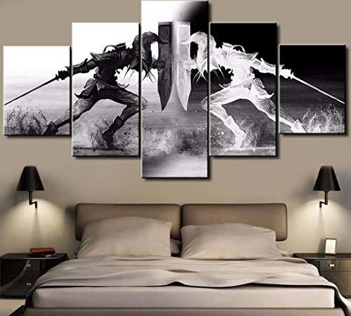 WLHZNB Impresiones sobre Lienzo 5 Piezas Fantasy God of War Kratos Game Poster Modern Living Room Wall Art Painting Decoración para El Hogar (Tamaño A) con Marcos