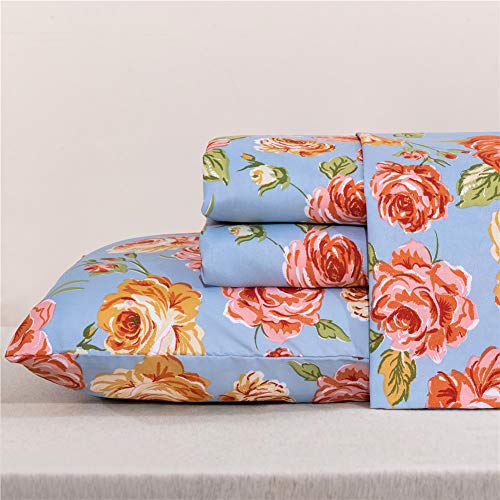 MEISHANG Floral Sheets Flower BedSheets Printed Ultra Soft 100% Microfiber-Deep Pocket Fitted Sheet+Flat Sheet+Pillowcase-3 Pieces Spring Red Yellow Rose Twin