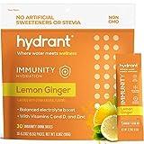 Hydrant Electrolyte Hydration Powder,Lemon GingerImmunity Vitamins, Keto-Friendly Electrolyte Powder Packets, Boost Energy, Supplement Drink for Immunity Support, 30 Pack