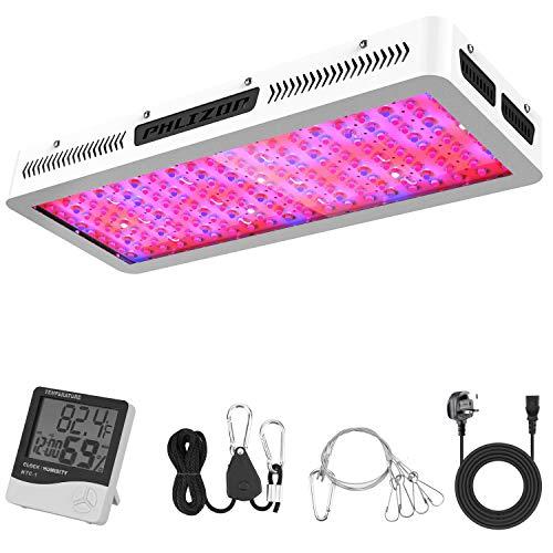 Phlizon LED-Wachstumsleuchte, 1200 W, hohe Leistung, mit Thermometer und Luftfeuchtigkeitsmesser, mit verstellbarem Seil, Doppelchips, Vollspektrum, Wachstumslampe für Zimmerpflanzen Modern 2000 W
