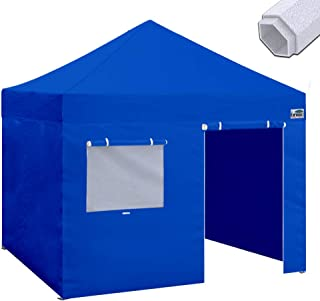 Eurmax Premium 10`x10` Ez Pop-up Canopy Tent Commercial Instant Canopies Shelter with Removable Sidewalls Bonus Wheeled Carry Bag (Royal Blue)