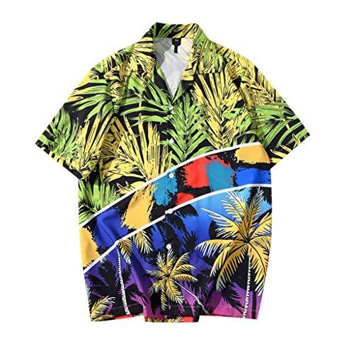 アロハシャツ メンズ 通気性 速乾 超軽量 ルーズプリント 夏ハワイシャツ スウェット ボタンダウンシャツ Tシャツ 半袖シャツ ソフト 開襟シャツ アウトドア ビーチ Tシャツカットソー summer 日焼け止め メンズ カーディガン (グリーン/XL)