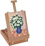 Xpork Foldable Desktop Wooden Sketch Box Tripod Art Easel Portable Children's Drawing Board Sketch Box Artist Painting