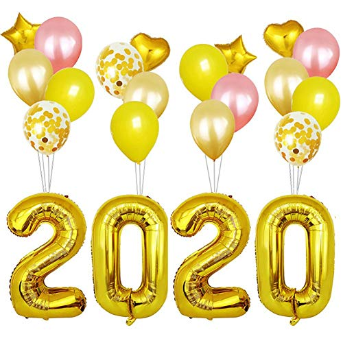 Yves25tate 2020 Luftballons Kit für frohes neues Jahr Party Supplies 32-Zoll Digital Aluminiumfilm Atmosphäre steigt Dekorationen im Ballon