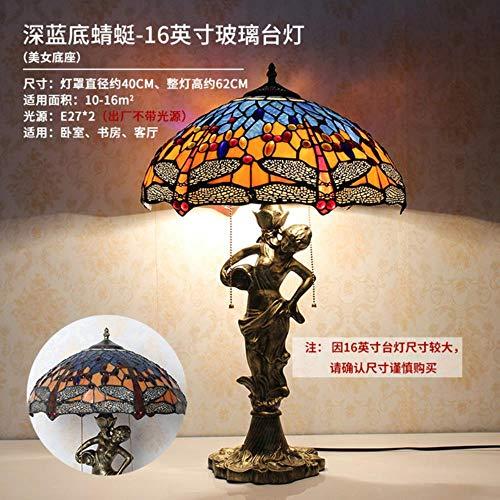 Tischleuchte, Tiffany, 16 Zoll, klassisch, Barock, europäisch, Nachttischlampe, E27, 110 – 240 V, siehe Tabelle