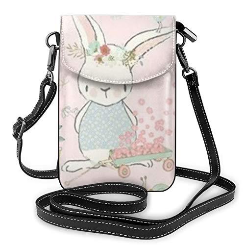 Bolso ligero del teléfono celular de la PU, bolso pequeño del bolso del hombro del conejito del jardín del bolso de la bolsa de hombro del bolso de la mano de Pounch, color Negro, talla Talla única