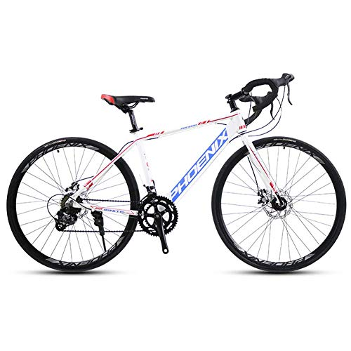 Xiaoyue Adult Rennrad, 14 Geschwindigkeit 700C Räder Straßen-Fahrrad, Alu-Rahmen-Fahrrad mit Scheibenbremsen, ideal for unterwegs oder Dirt Trail Touring, grau lalay (Color : White)