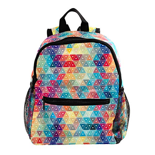 Lightweight Backpack for School, Classic Basic Casual Daypack for Travel with Bottle Side Pockets,Abstract Colorful Plaid Geometric Triangle