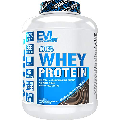 Evlution Nutrition 100% Whey Protein, 25g of Whey Protein, 6g of BCAAs, 4g of Glutamine, Gluten Free (5 LB, Double Rich Chocolate)