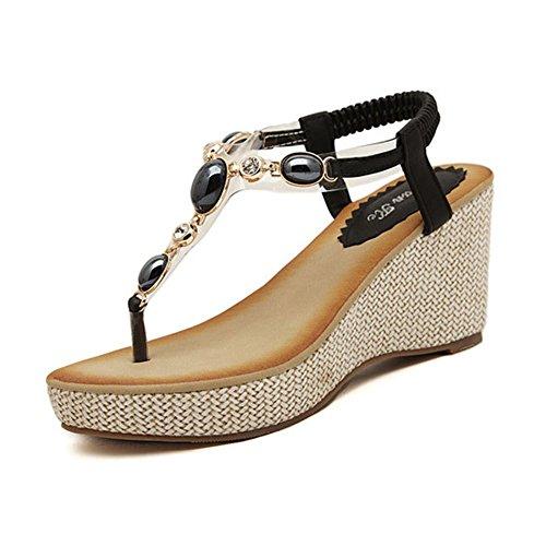 YOUJIA Damen Böhmen Sandaletten Wedges Strass Dianetten Sandalen mit Keilabsatz Sommer Zehentrenner Freizeit Schuhe