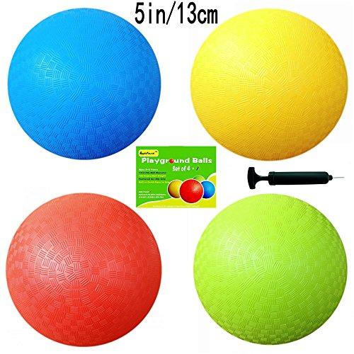 AppleRound 5 Inch Playground Balls (Set of 4) with 1 Hand Pump