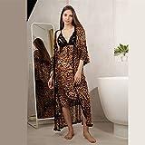 DFKE Ropa de Dormir de Las Mujeres con Adornos de Encaje Floral Satin Cami Pijama con túnica, Albornoces de Hotel (Color : Robe and Dress, Size : X-Large)
