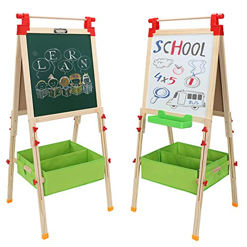 ShowMaven Kids Wooden Double Sided Art Easel, Height Adjustable Dry Erase Board & Chalkboard, with Paper Roll and Non-Woven Storage Container